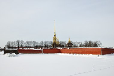 Type in the winter on Peter and Paul Fortress and Rabbit Island