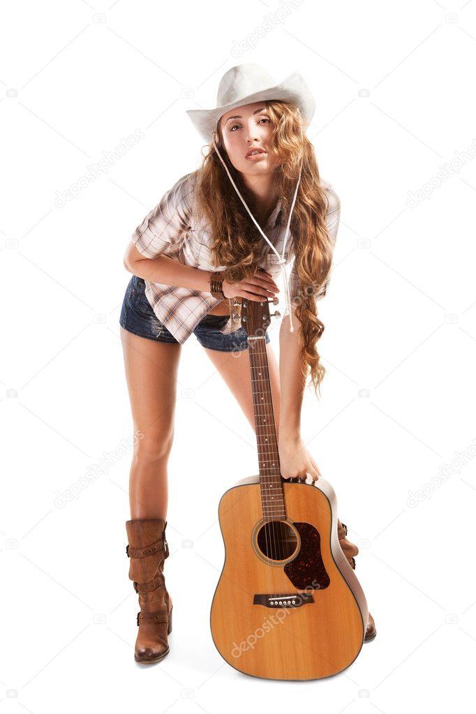Клизмой ковбой с гитарой телка парень
