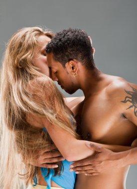 Salsa dancers, blonde caucasian woman and black man stock vector