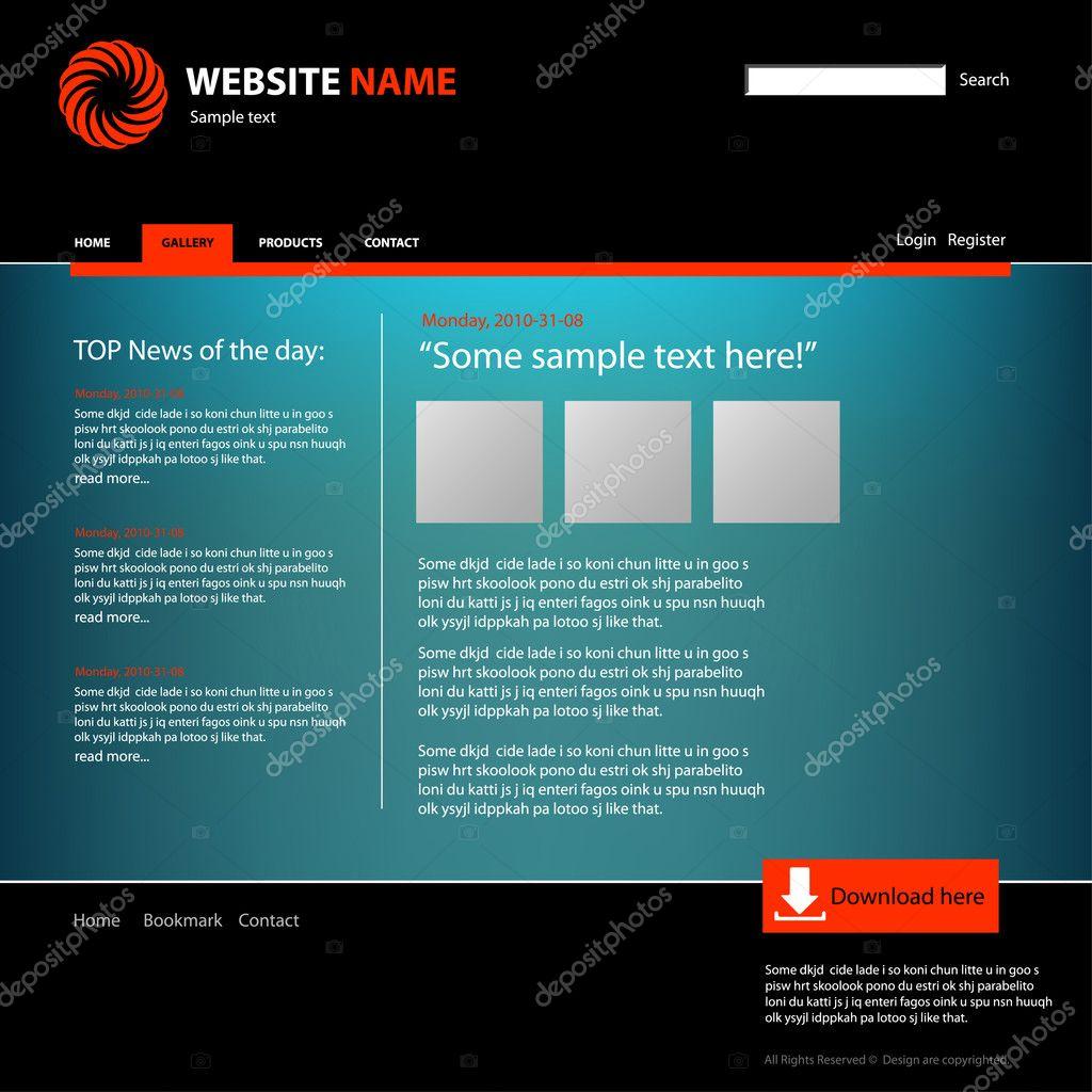 Plantilla de diseño de sitio web — Archivo Imágenes Vectoriales ...