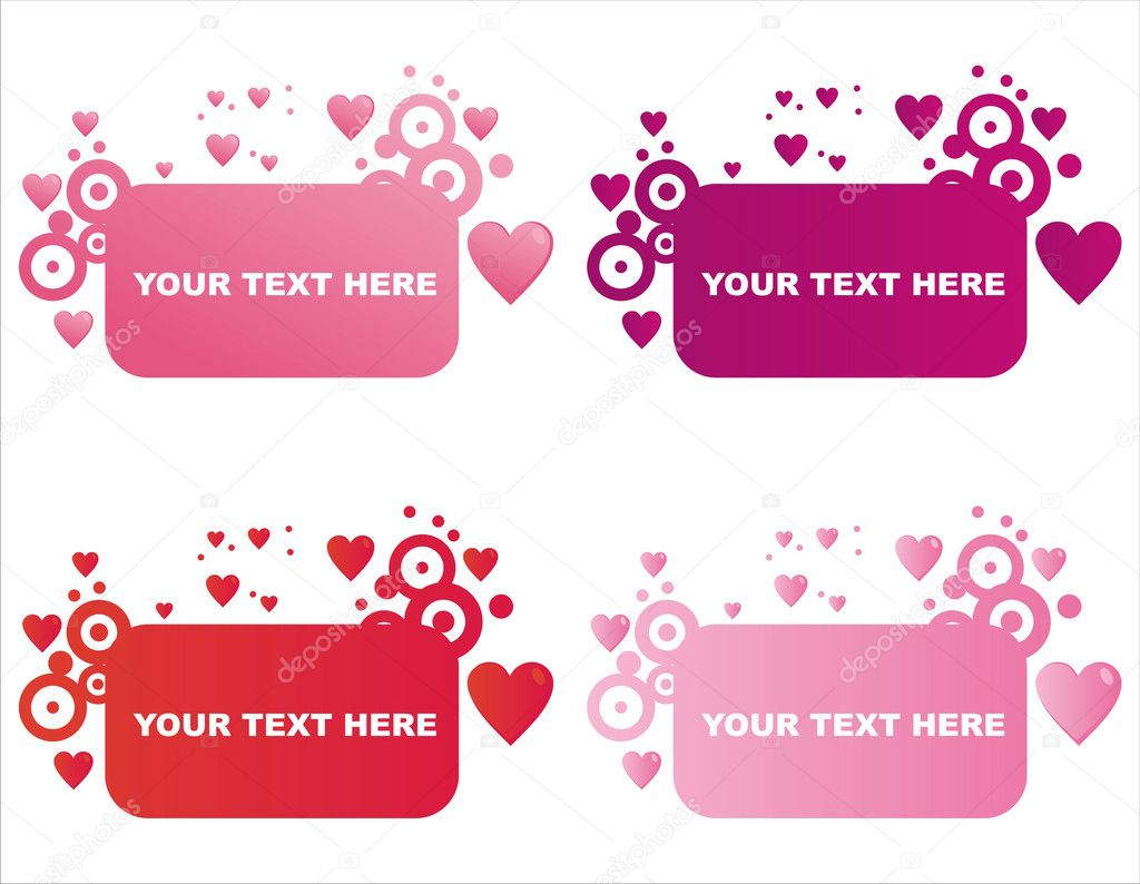 set of 4 st valentines day frames vector by isabelle