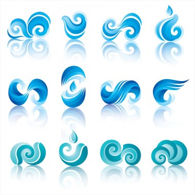 Wave and water icons with reflection