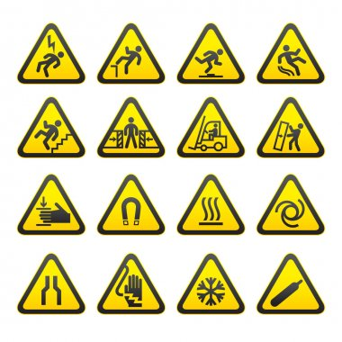 Set Simple of Triangular Warning Hazard Signs