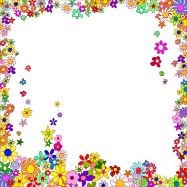Frame of Colorful Flowers on a White Background