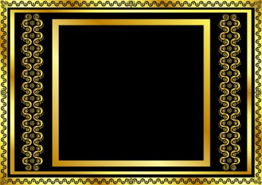 Gold pattern frame with waves and stars_11