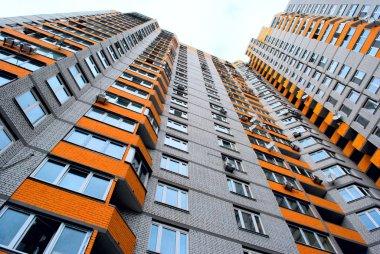 High-rise apartment building with the orange balconies. Kiev.Ukraine