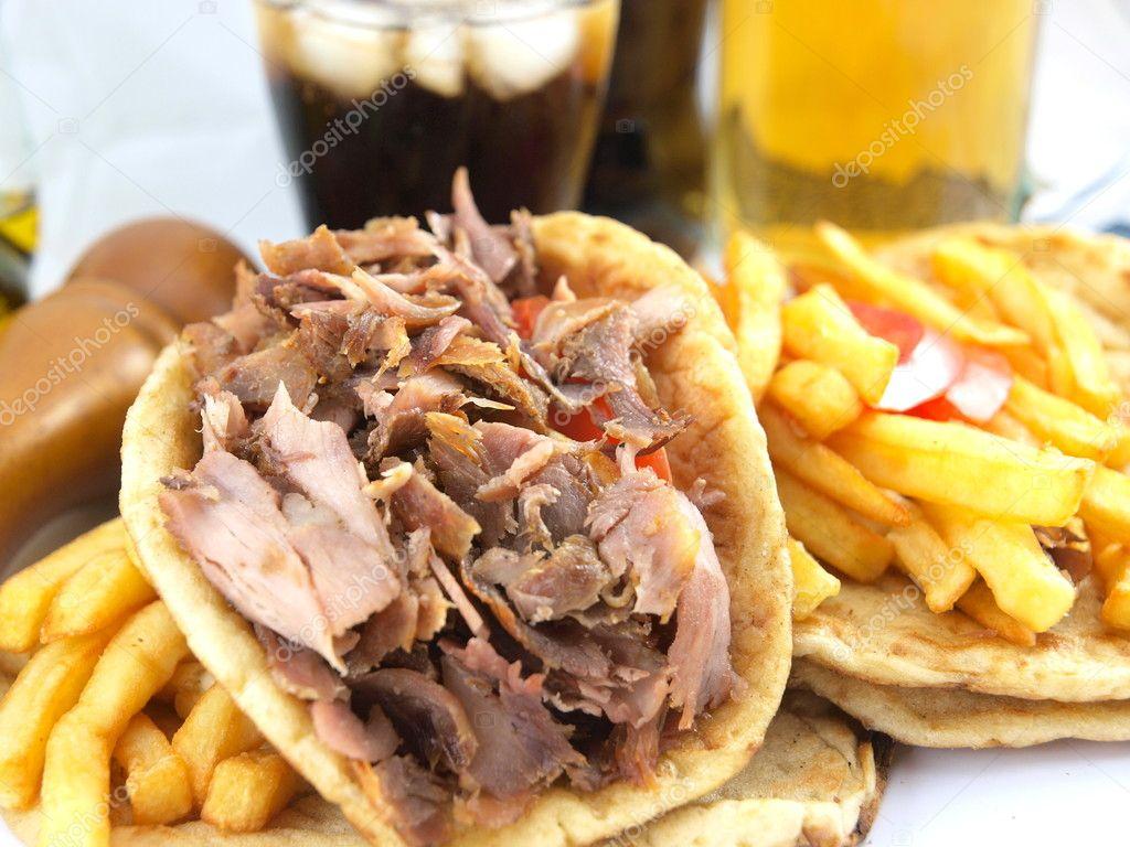 Grieks eten gyros stockfoto viperagp 4043219 - Snack eten ...