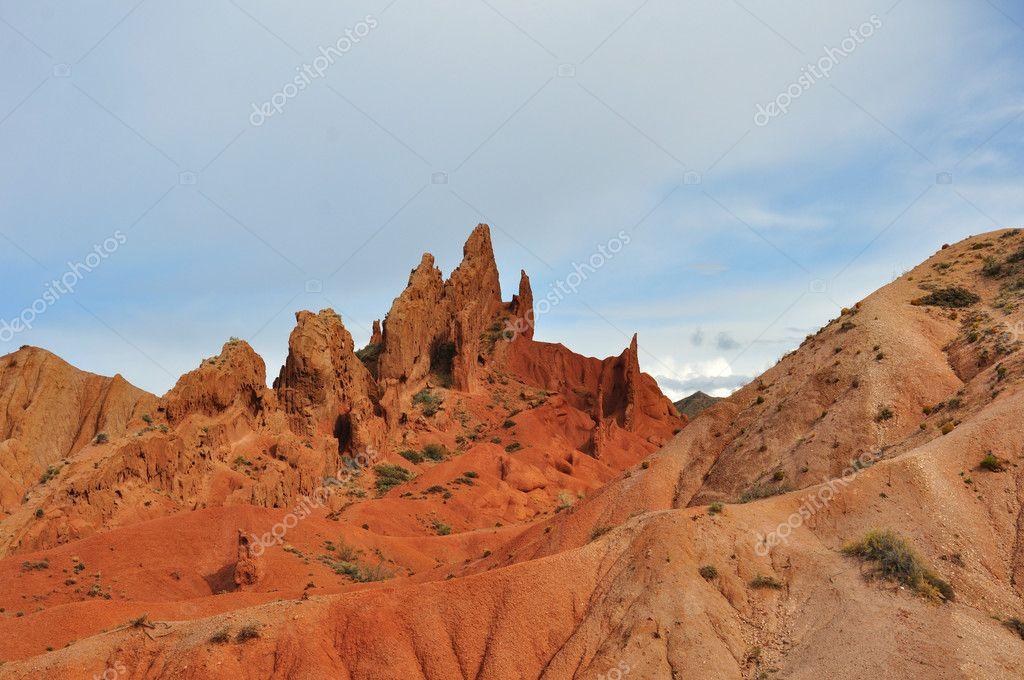 Wonderful Skazka canyons in Kyrgyz mountain