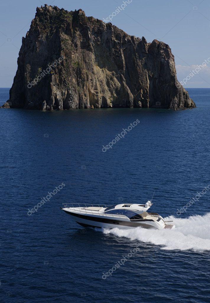 ITALY, Panarea Island, aerial view of luxury yacht