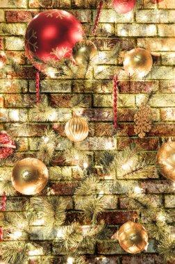 Christmas brick background