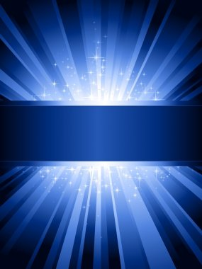 Vertical blue light burst with stars and copy-space