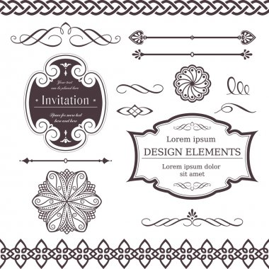Set of ornate vector frames, ornaments and dividers. Perfect to embellish your designs, invitations, or announcements. clip art vector