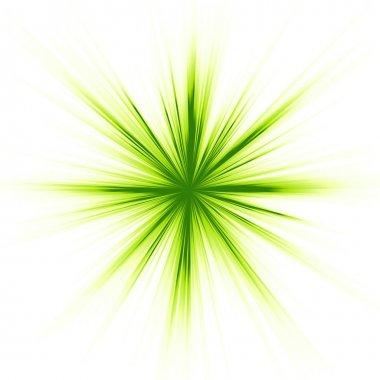 Green light, star burst on white