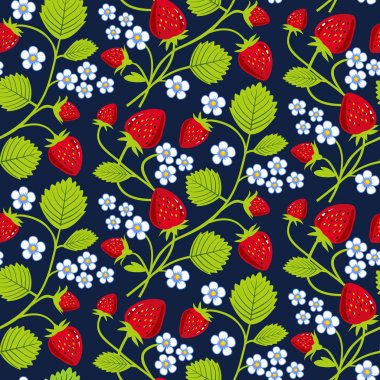 Strawberries seamless background
