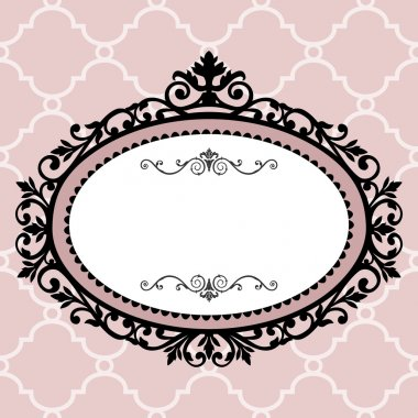 Decorative pink frame on the retro background with space for your text, full scalable vector graphic for easy editing and color change stock vector