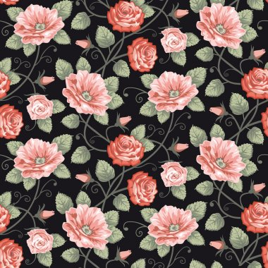 Roses vector background, repeating seamless pattern. clip art vector