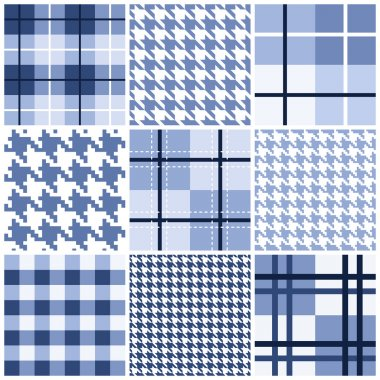 Set of blue seamless pattern