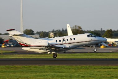 Business jet taking off