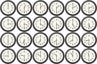 24 clocks every half hour