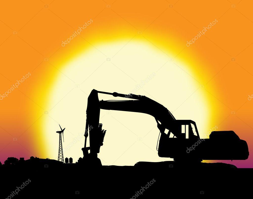 Backhoe with big yellow sunset