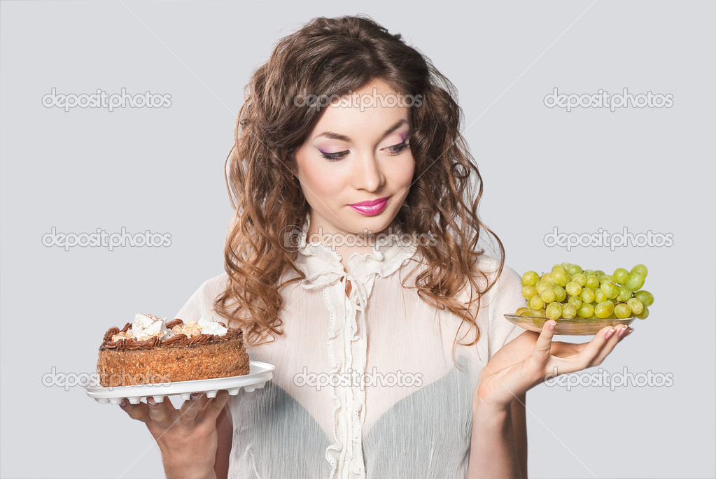 Young woman case food