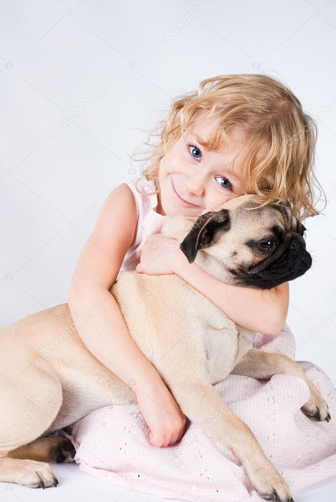 Cute smiling girl with dog