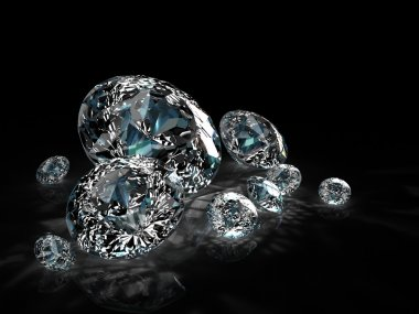 Diamonds group isolated on black background