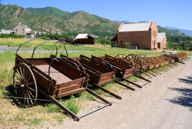 Display of Mormon Settler Hand Carts at Heritage Park in Utah
