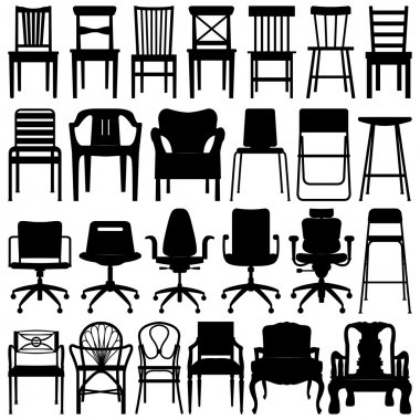 A set of chairs design. stock vector