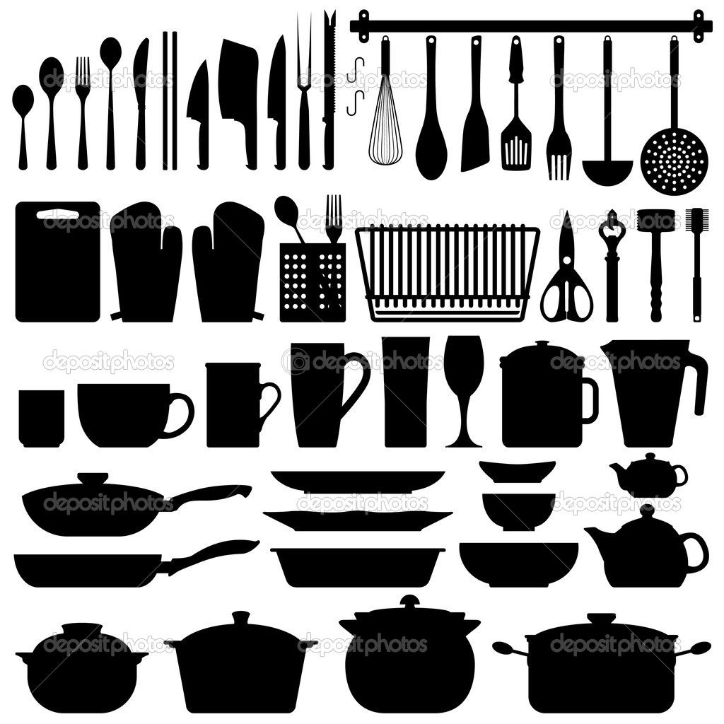 utensili da cucina sagoma vettoriale ? vettoriali stock © leremy ... - Arnesi Da Cucina