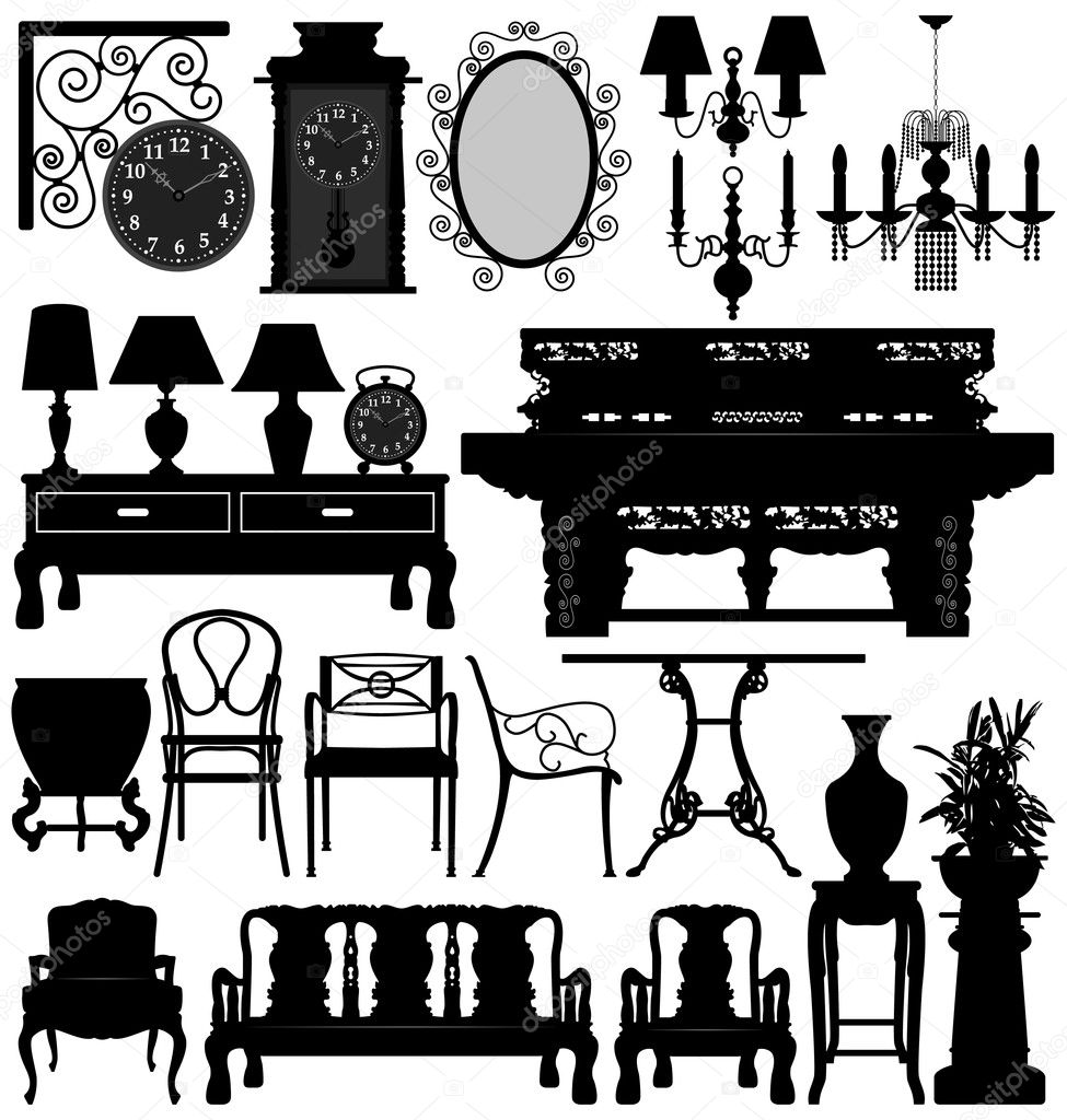 antique old furniture home house u2014 stock vector leremy 4559706