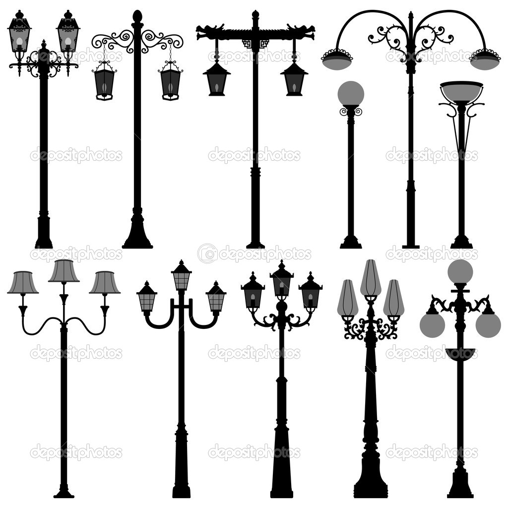 Lamp Post Lamppost Street PoleLight — Stock Vector © leremy #5239663 for Street Lamp Post Design  110ylc