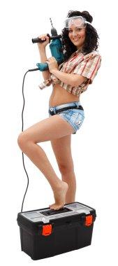 Repair woman with driller