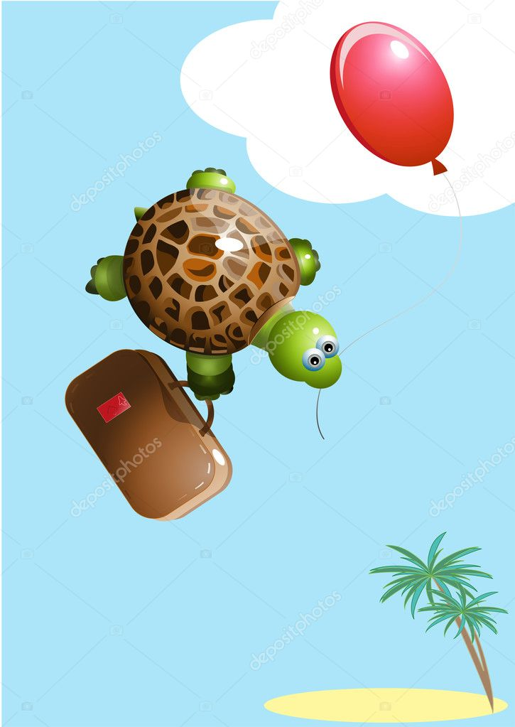 Turtle with a balloon