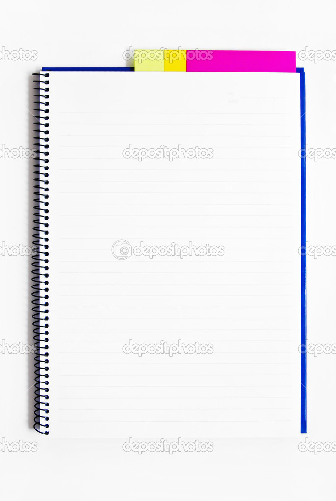 Blank Notebook With Memo Isolated  Stock Photo  Zmkstudio