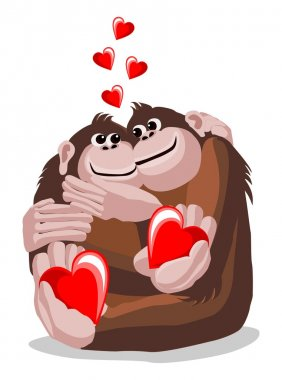 Illustration of a pair of lovers monkeys