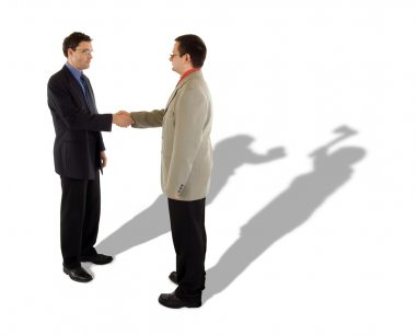Business handshake and the real truth behind stock vector