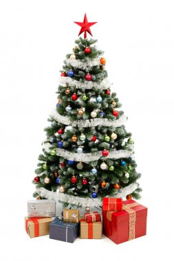 Christmas tree on white with presents