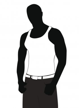 Silhouette of the young athlete in a vest