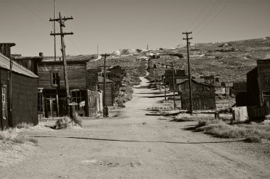 Black and white old ghost town