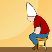 Mütze Mann auf Schemel