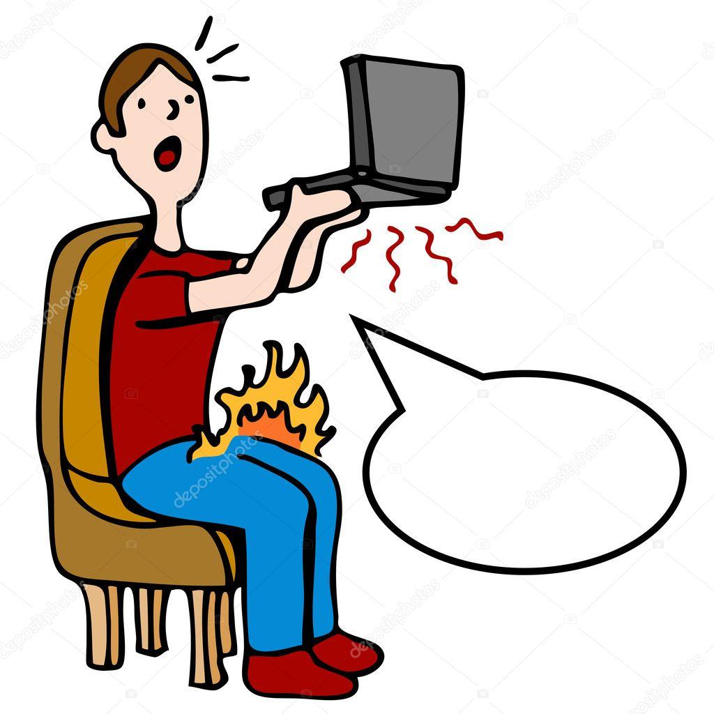 caliente, sobrecalentamiento del ordenador portátil — Archivo ...