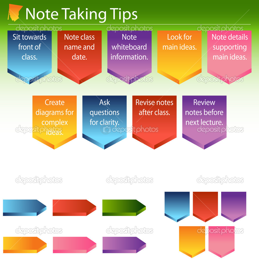Note Taking Tips — Stock Vector © cteconsulting