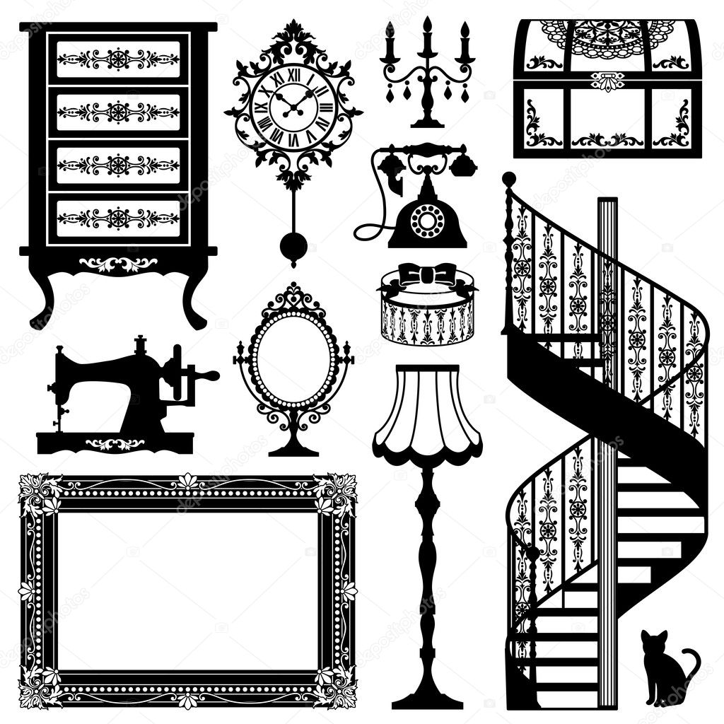Antique chair silhouette - Antique Furniture Stock Vector