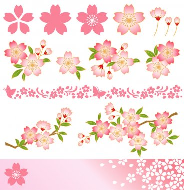 Decoration of cherry blossoms. Icon,corner,frame,line,background. Vector illustration. stock vector