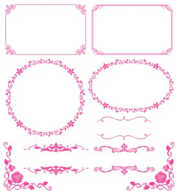 Set of decoration of floral lace. Vector illustration. clip art vector