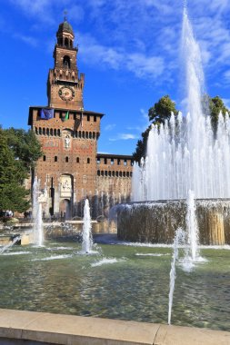 Fountain on the Castle square. Milan, Italy