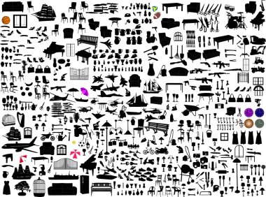 Miscellaneous objects collection - vector stock vector