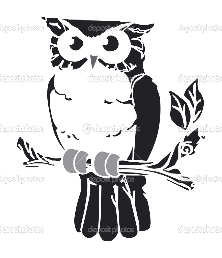 Vector retro owl on swirly vine