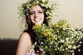 Photo Beautiful woman with flowers